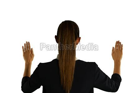 businesswoman using interactive screen