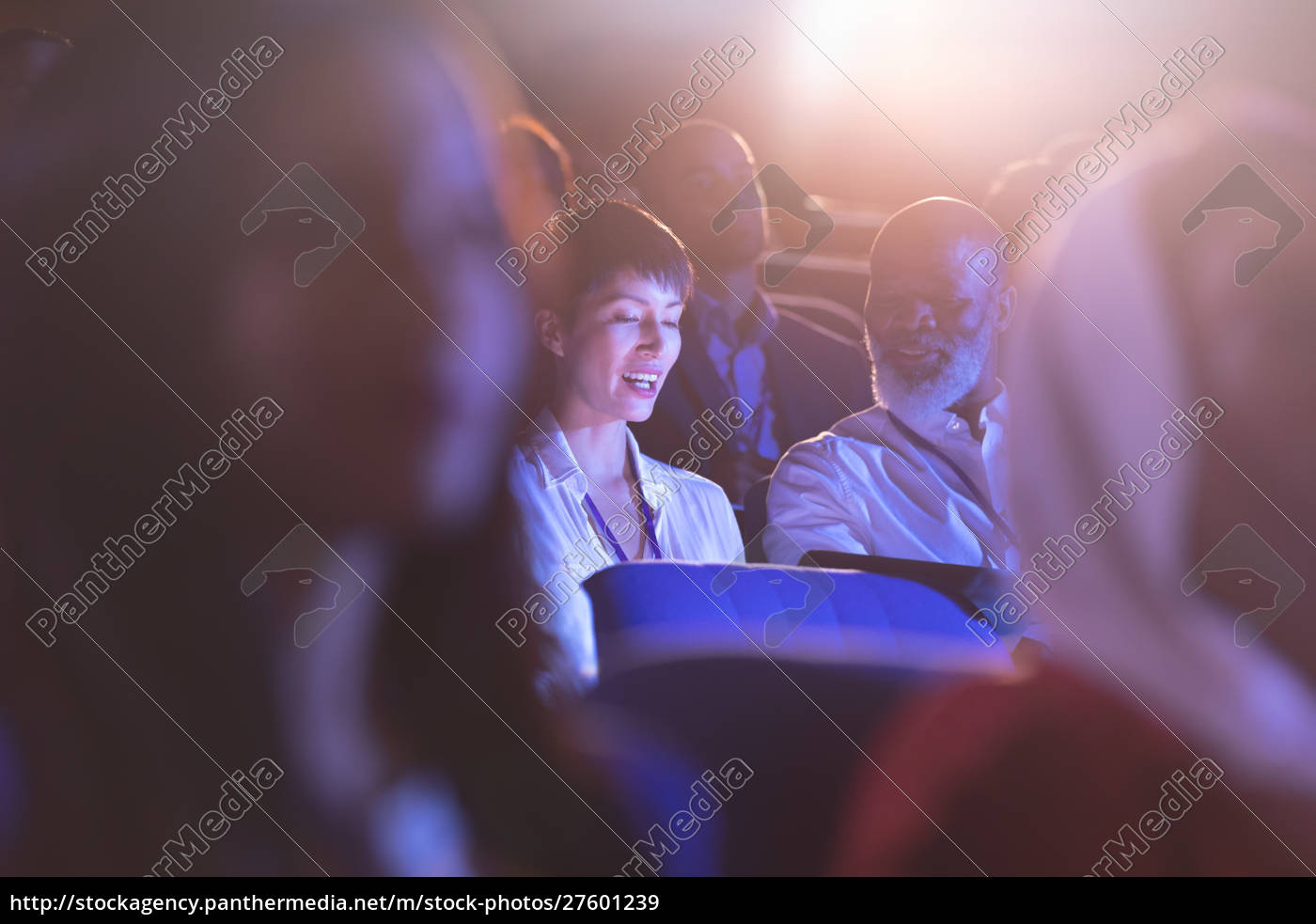 business, colleague, sitting, and, interacting, with - 27601239
