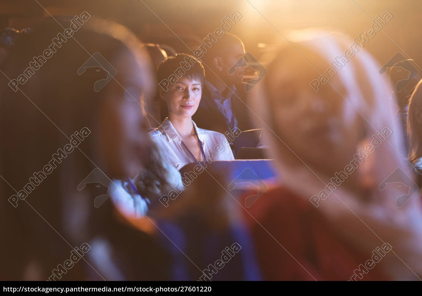 businesswoman, sitting, in, the, auditorium, and - 27601220