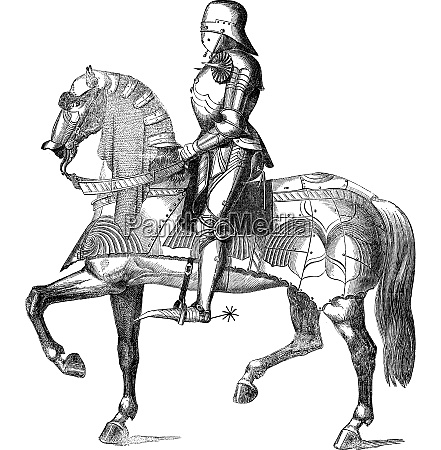 ritter auf einem pferd vintage gravur