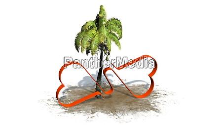 zwei miteinander verbundene herzen mit palme