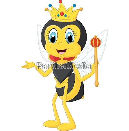 cartoon koenigin biene praesentieren