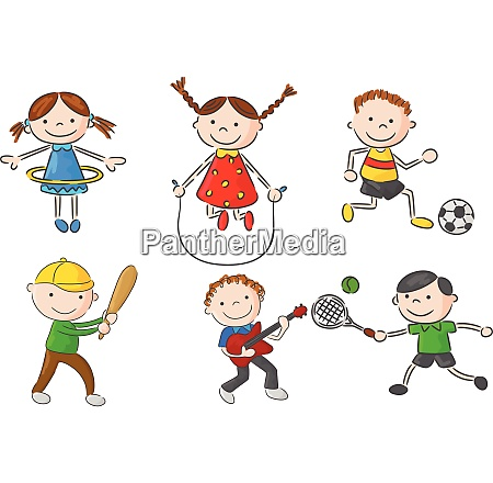 cartoon many kids jumping together and
