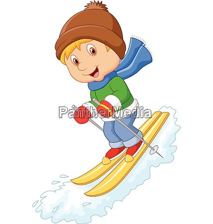 cartoon alpinskifahrer rast mit eisberg auf