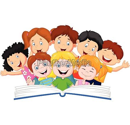 cartoon kleine kind lesen buch