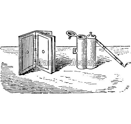 tintenfass stift und tablet vintage gravur