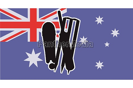 flag of australia with cricket icons