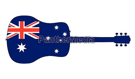 acoustic guitar silhouette with australian national