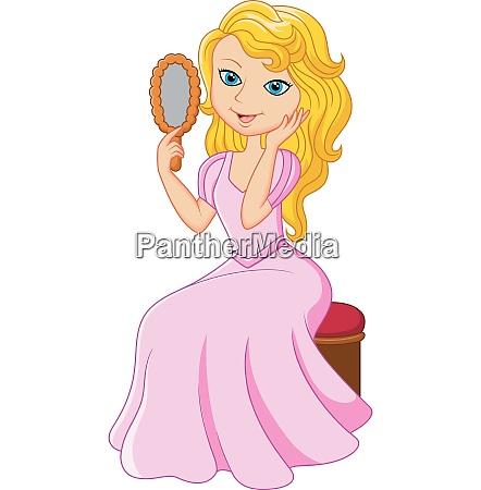 cartoon beautiful princess holding glass