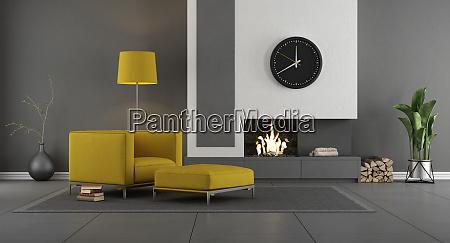 graues und gelbes modernes wohnzimmer mit