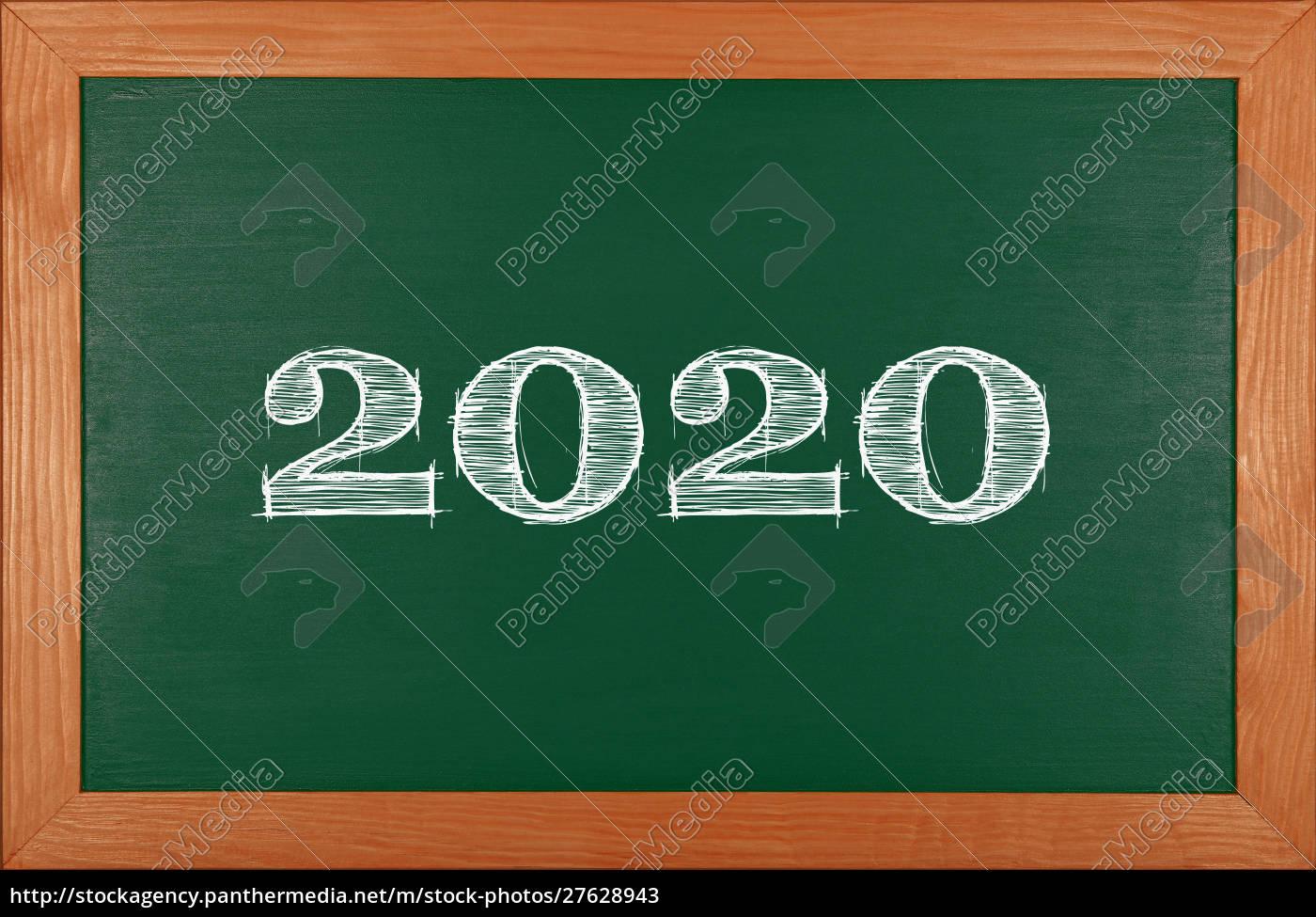 grüne, schultafel, mit, 2020-chack-zeichnung - 27628943