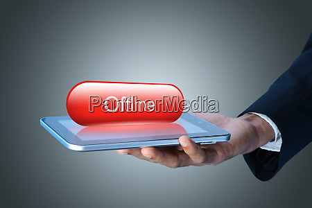 man showing tablet computer with offline