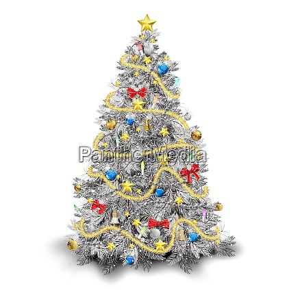 silver christmas tree with colorful ornaments