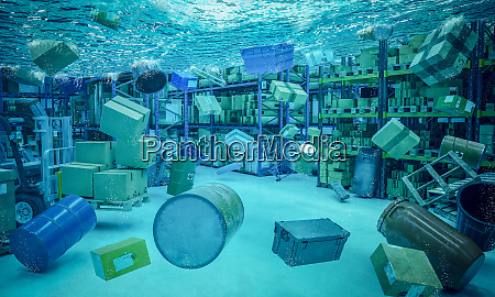 3d flooded warehouse interior background