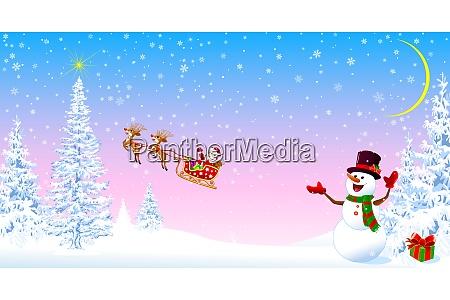 weihnachtsmann und schneemann begruesst weihnachten