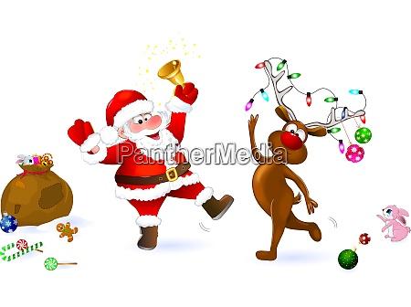 freude an weihnachts santa und hirsch