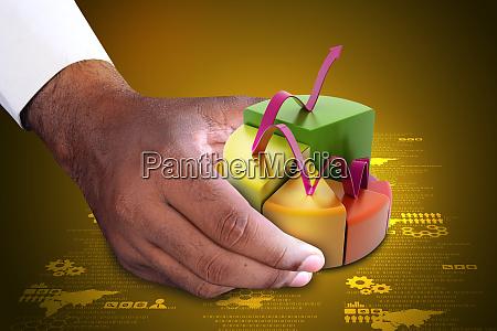 intelligente hand zeigt finanz kuchen diagramm