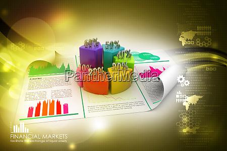 geschaeftsbericht und kreisdiagramm mit wachstumsprozentsatz