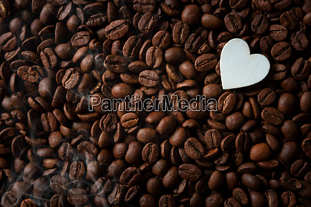 coffee beans with white hearts with