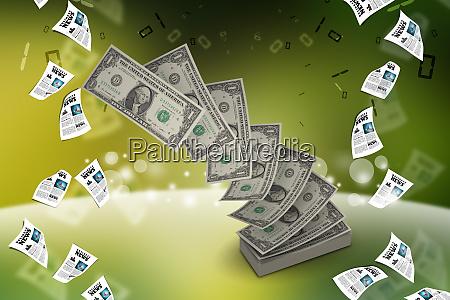 haufen von us notenbanknoten