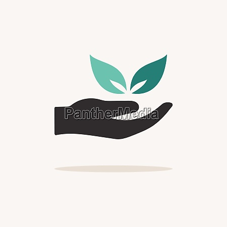 hand and leaves icon with shadow