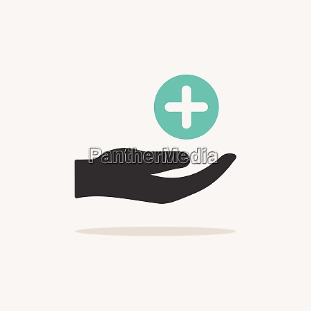 hand with pharmacy cross icon with