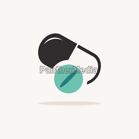 pill and capsule icon with shadow