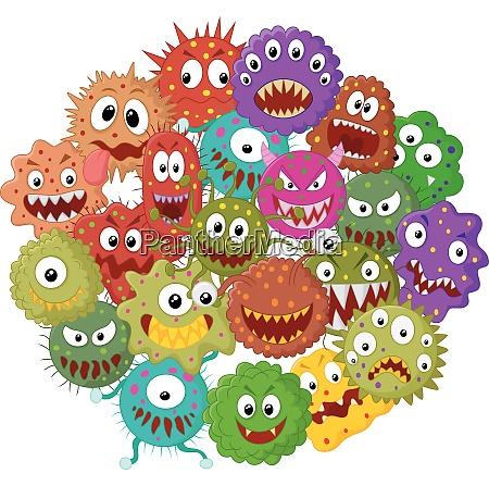 cartoon bakterien sammlung set