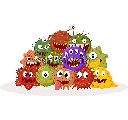 cartoon bakterienkolonie