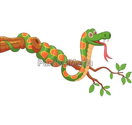 cartoon gruene schlange auf einem baumzweig