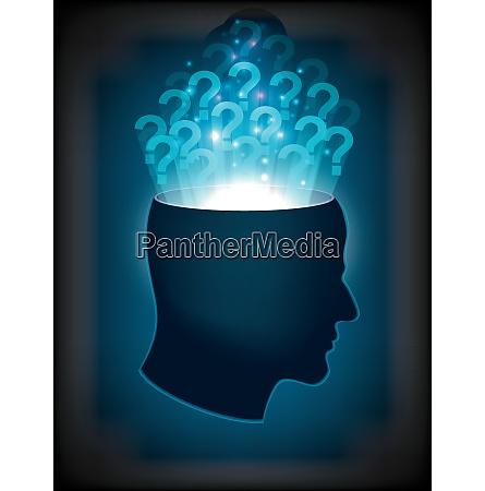 kopf des menschlichen geistes bewusstseins phantasie