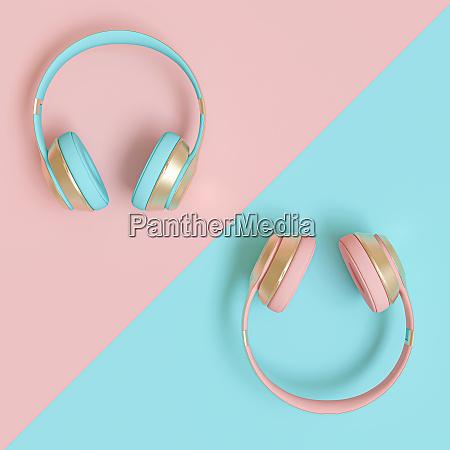 moderne audio kopfhoerer in gold rosa