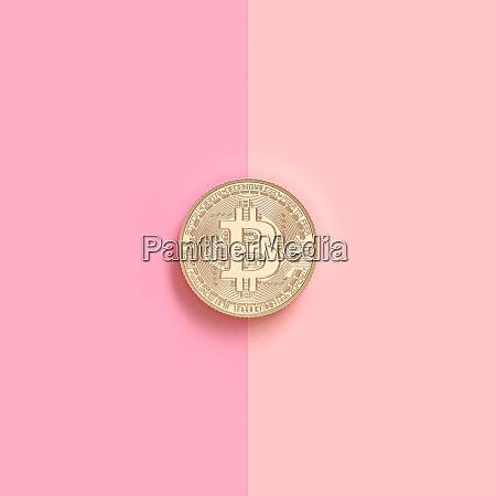 3d renderbild einer gold bitcoin muenze