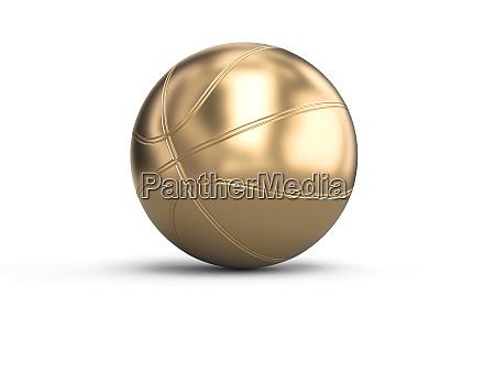 goldfarbenen basketball auf weissem hintergrund