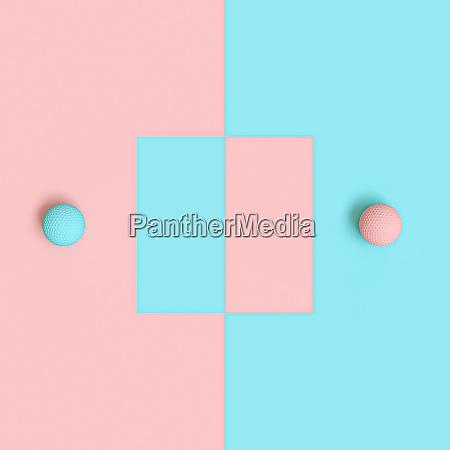 3d renderbild von blauen und rosa