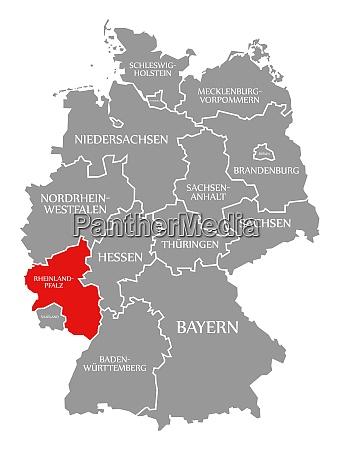 rheinland pfalz rot hervorgehoben in deutschlandkarte