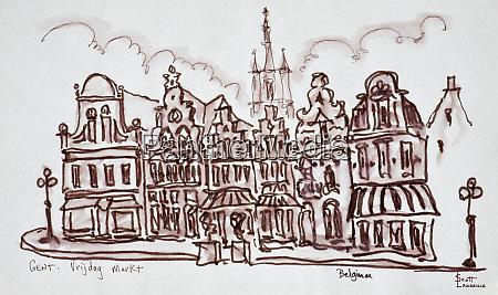 flemish architecture in the vrijdagmarkt ghent