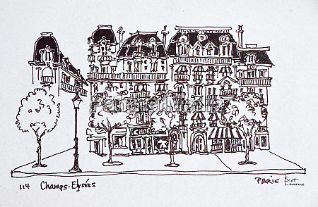 traditional haussmann architecture along the champs