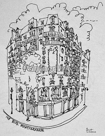 street scene at montparnasse boulevard paris