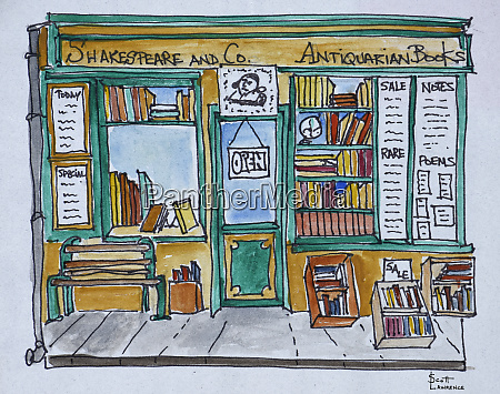 famous shakespeare and co bookstore along