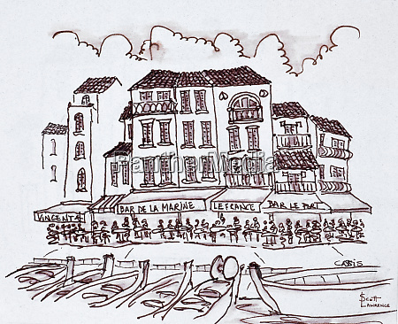 restaurants line the waterfront cassis france