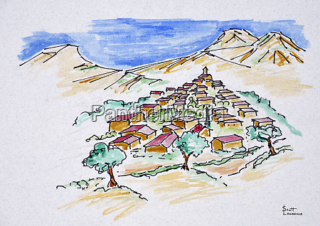 a perspective watercolor of a hill