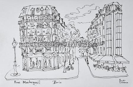 fussgaengerzone rue montorgueil paris frankreich