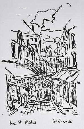 crowded pedestrian streets guerande loire atlantique