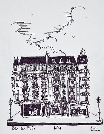 haussmann style cafe and stores on