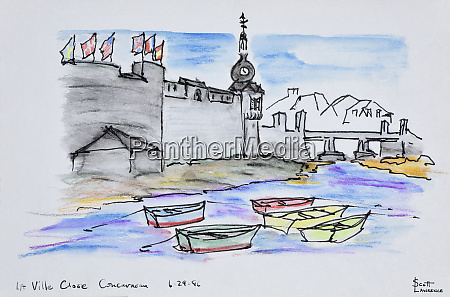 walled city of concarneau finistere brittany