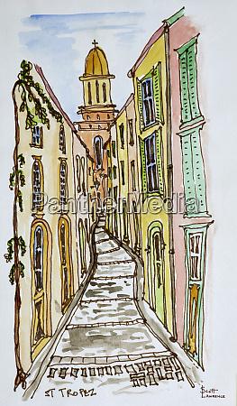buildings, crowd, the, narrow, streets, , saint-tropez, - 27677863