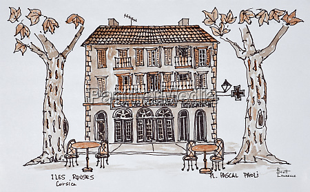 cafe, des, platens, in, place, paoli, l'ile - 27677998