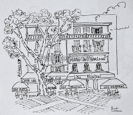 hofcafé, vor, dem, hotel, del'horloge, avignon, frankreich - 27677816