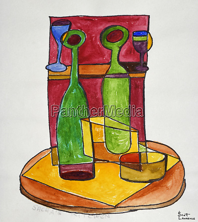 a cubist abstract still life of